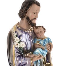 Statua San Giuseppe con bambino 60 cm gesso madreperlato s2