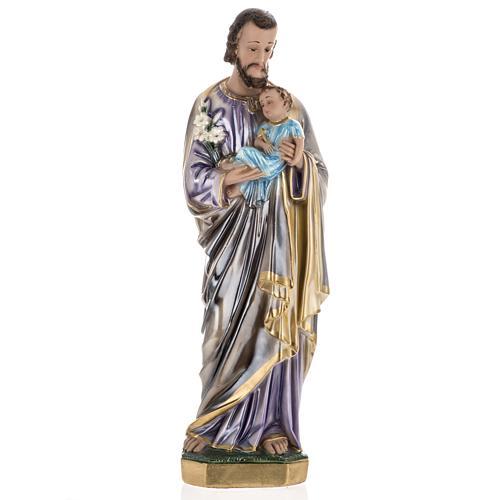 Statua San Giuseppe con bambino 60 cm gesso madreperlato 1