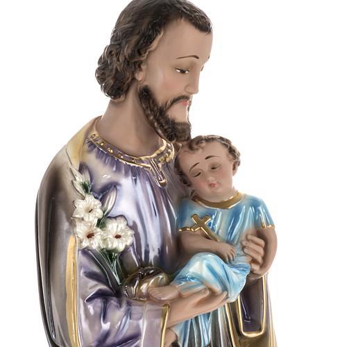 Statua San Giuseppe con bambino 60 cm gesso madreperlato 2