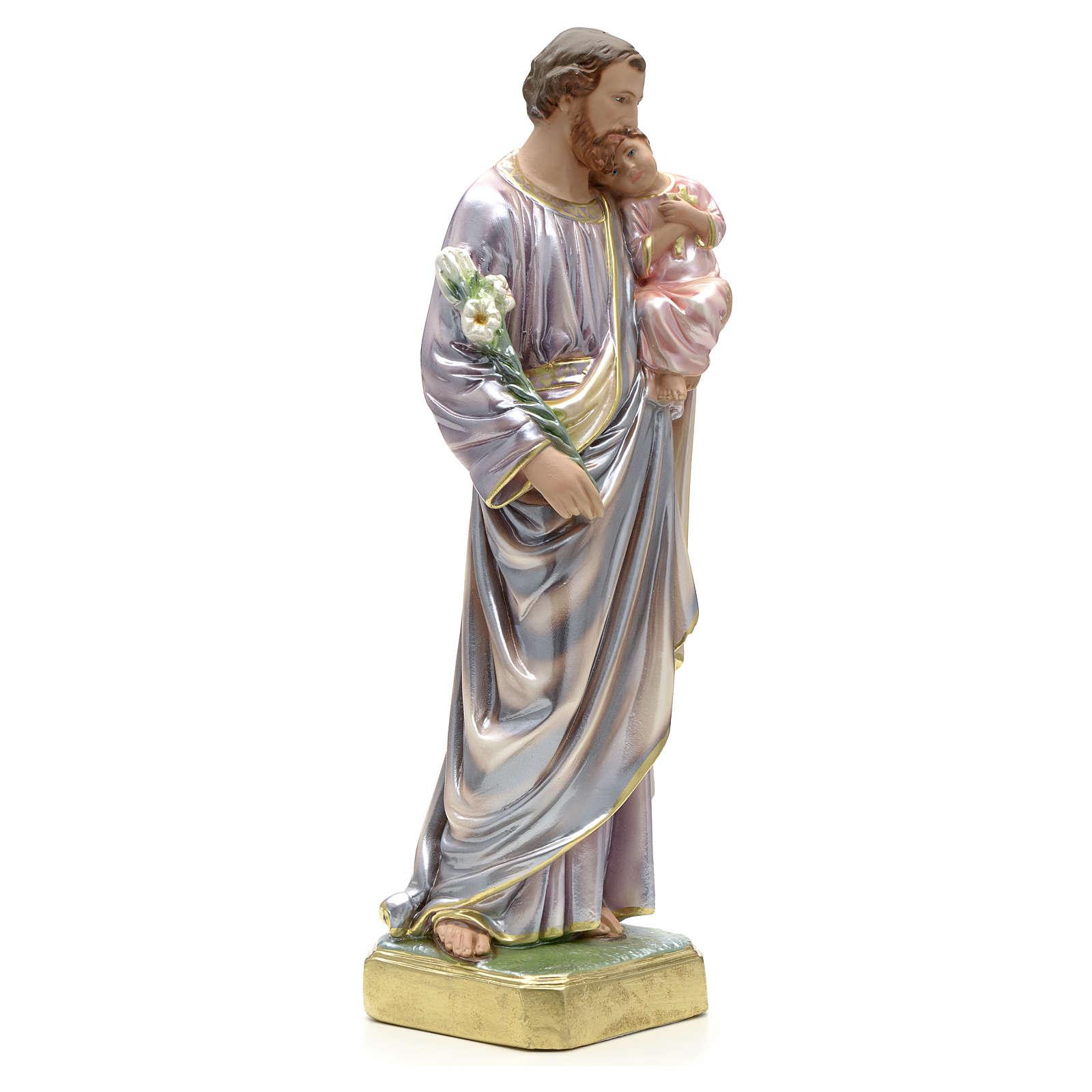 Statua San Giuseppe con bambino 50 cm gesso 4