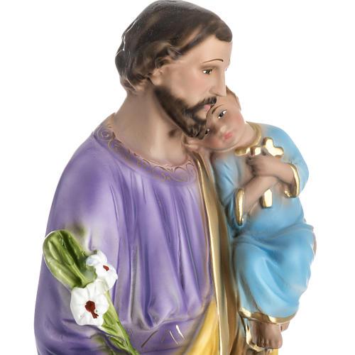 Statua San Giuseppe con bambino 50 cm gesso 3