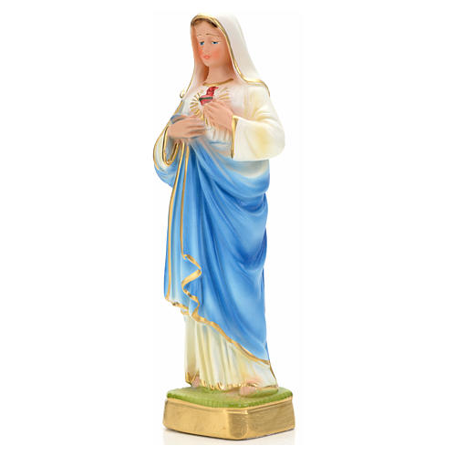 Sacred Heart of Mary statue in plaster, 20 cm 3