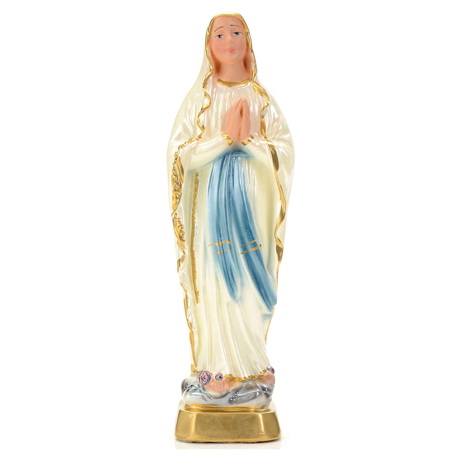 Notre Dame de Lourdes plâtre perlé 20 cm 4