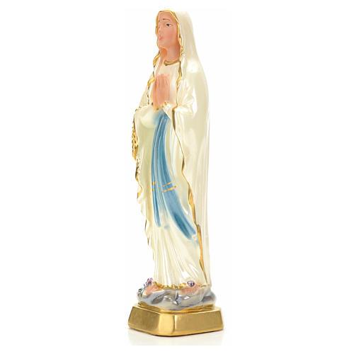 Notre Dame de Lourdes plâtre perlé 20 cm 3