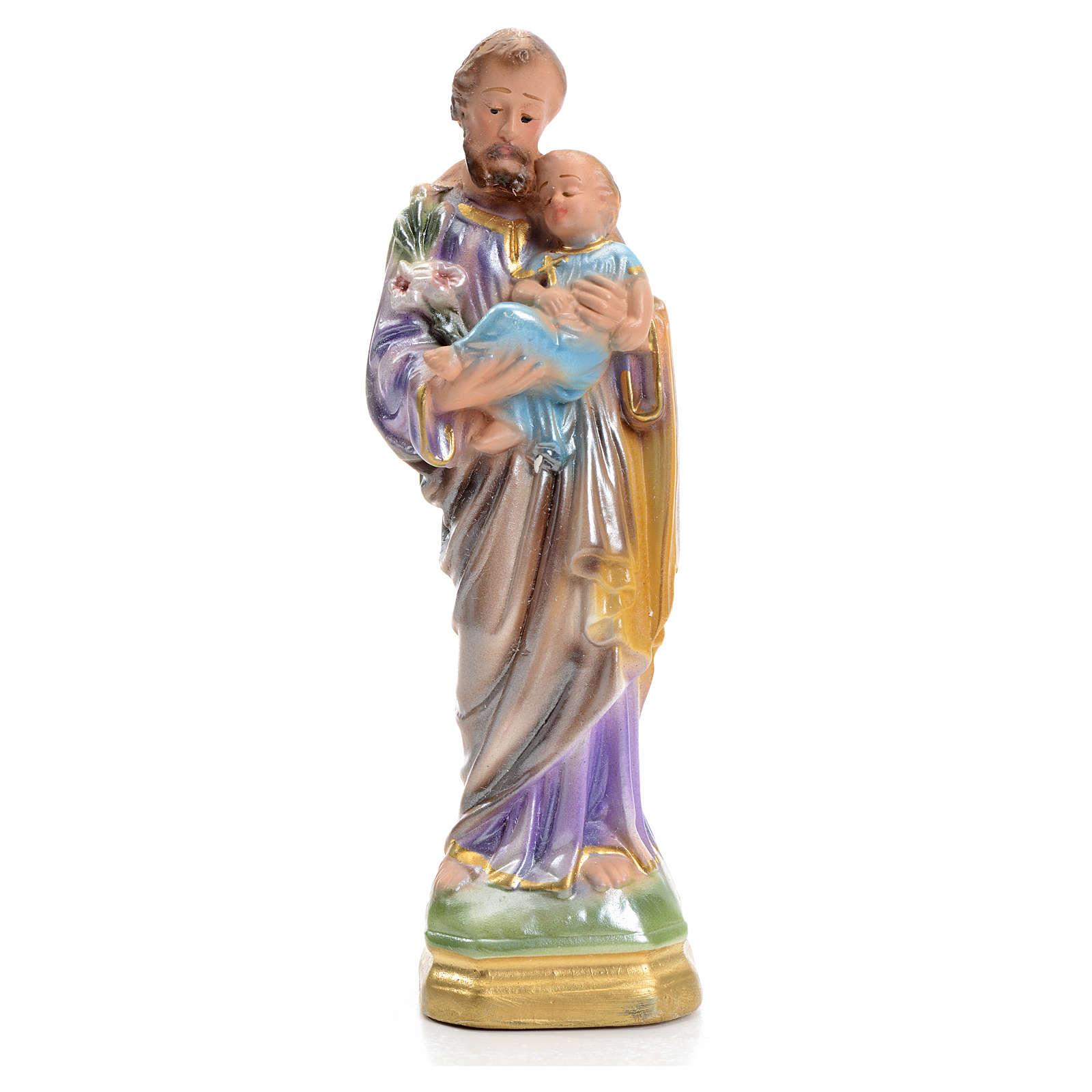 San Giuseppe con bimbo 16 cm gesso madreperlato 4