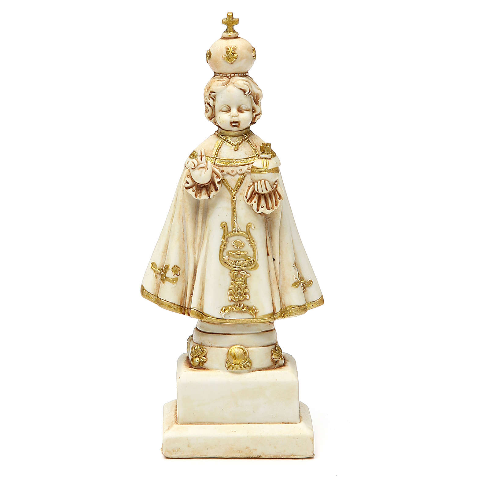 STOCK Infant Jesus of Prague statue 15 cm gypsum ivory 4