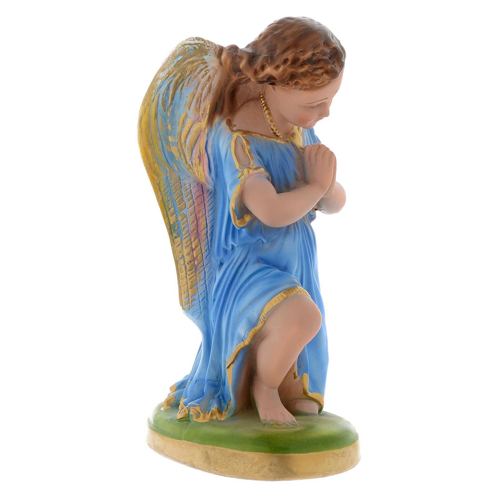 Ángel azul celeste rezando 25 cm yeso 4