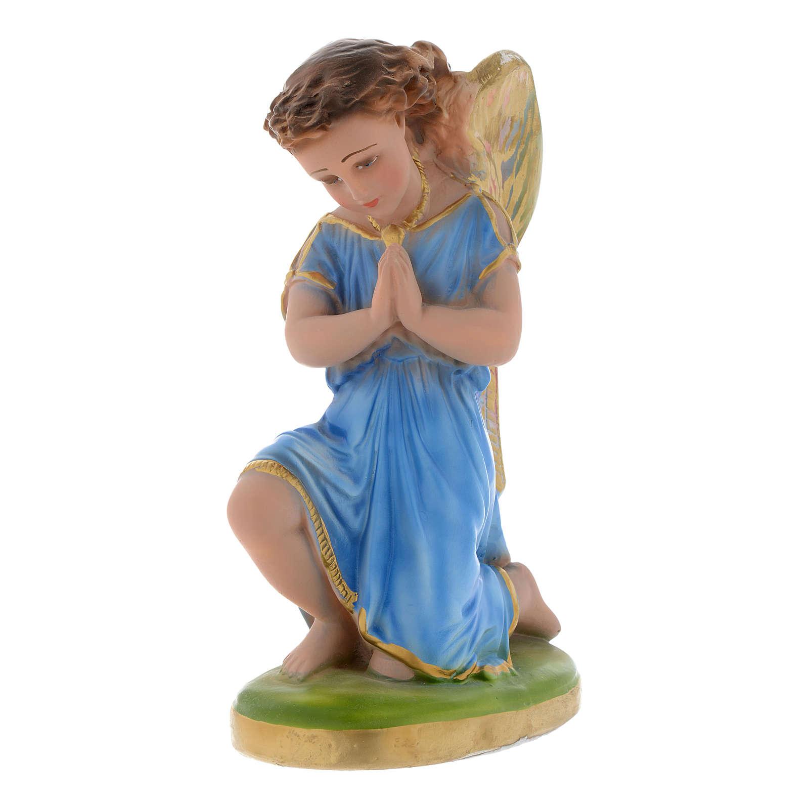 Angelo azzurro in preghiera 25 cm gesso 4