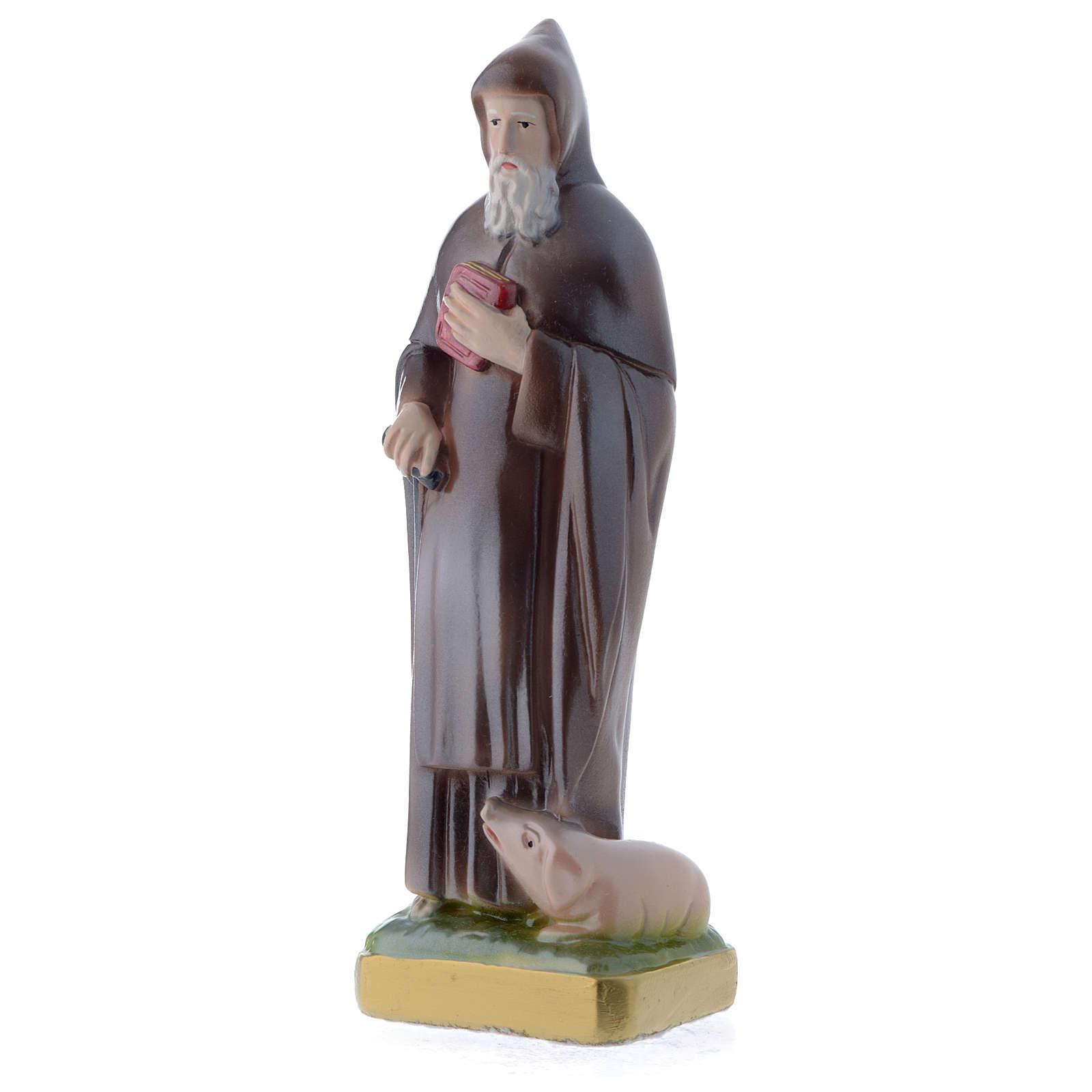 Sant'Antonio Abate 20 cm statua gesso madreperlato 4