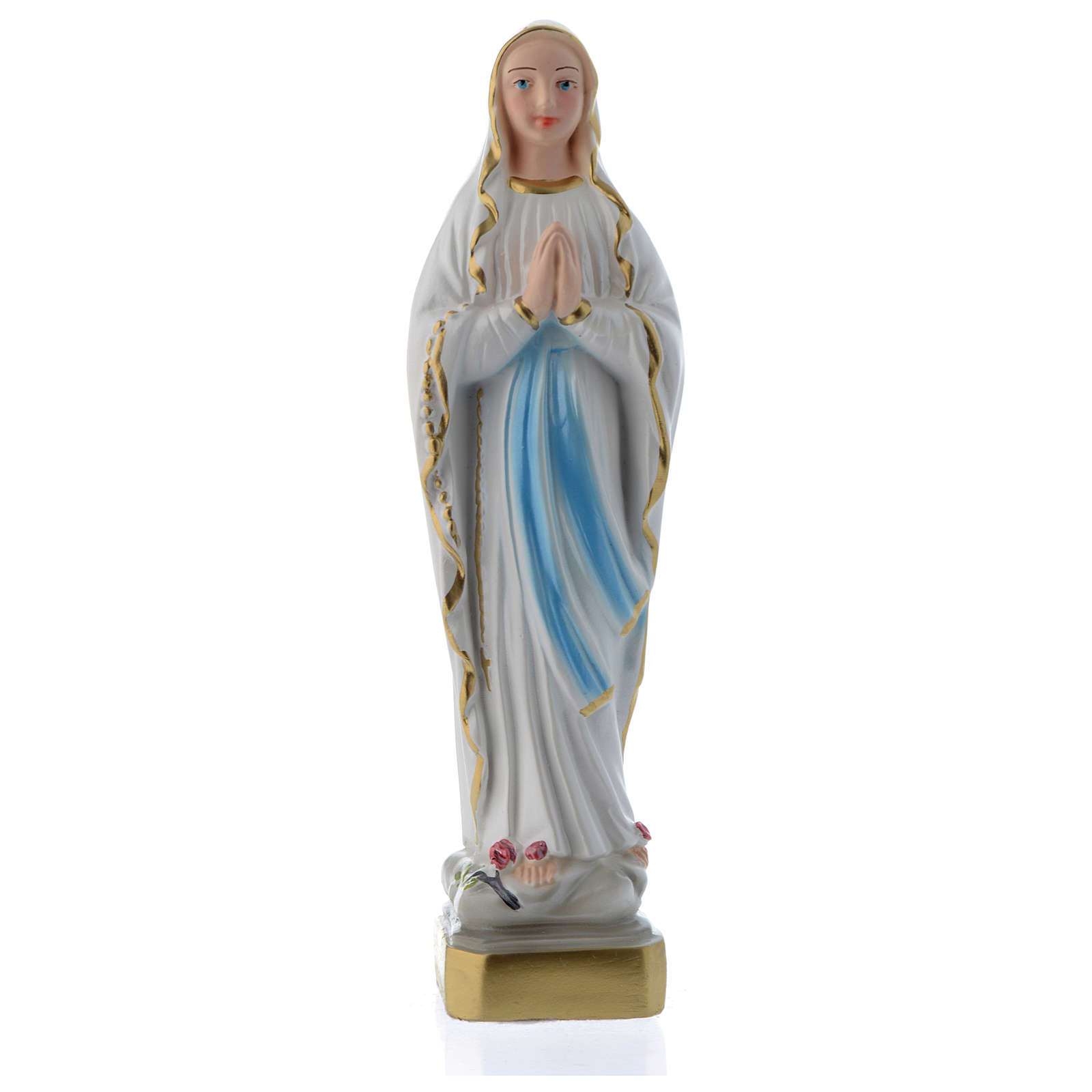 Our Lady of Lourdes statue 8 in. in mother of pearl plaster 4