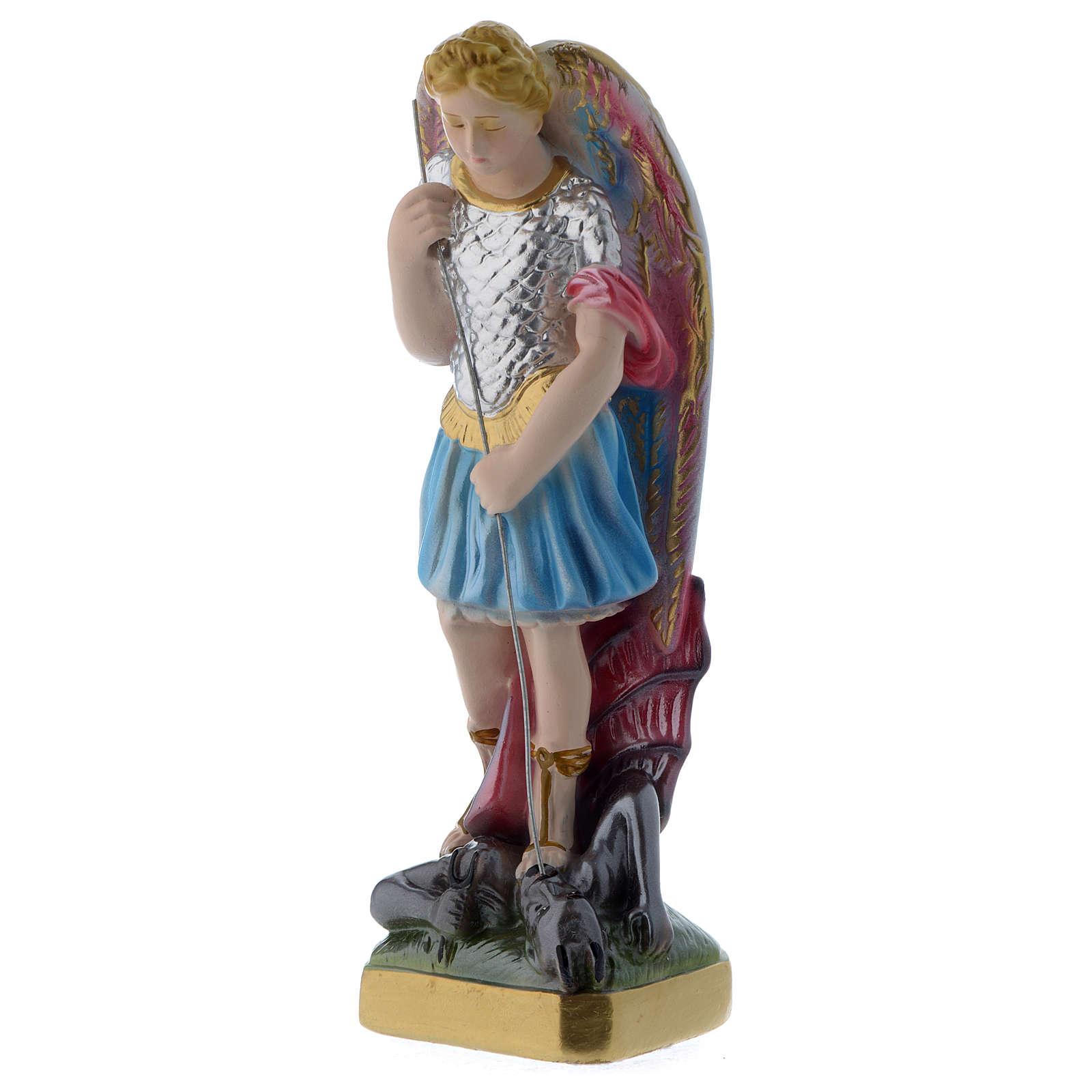 San Michele 20 cm statua gesso madreperlato 4