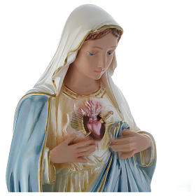 Sacro Cuore di Maria 50 cm statua gesso madreperlato s2