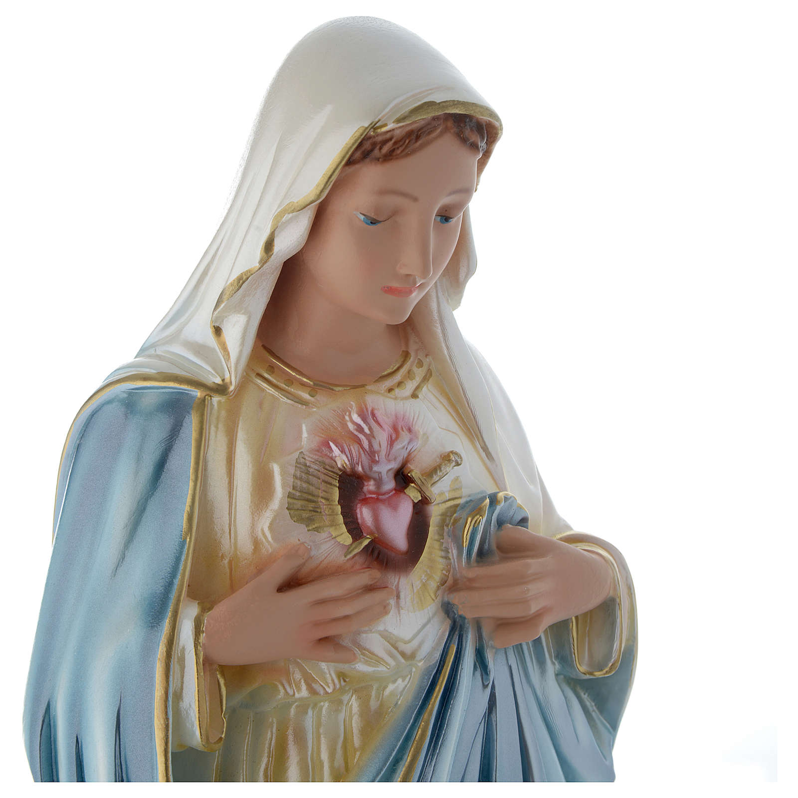 The Sacred Heart of Mary statue 20 inch in mother of pearl plaster 4