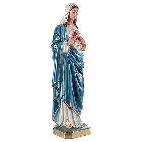 Estatua de yeso nacarado Sagrado Corazón de María 60 cm s4