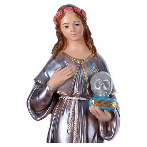 Sainte Rosalie plâtre nacré 40 cm 2