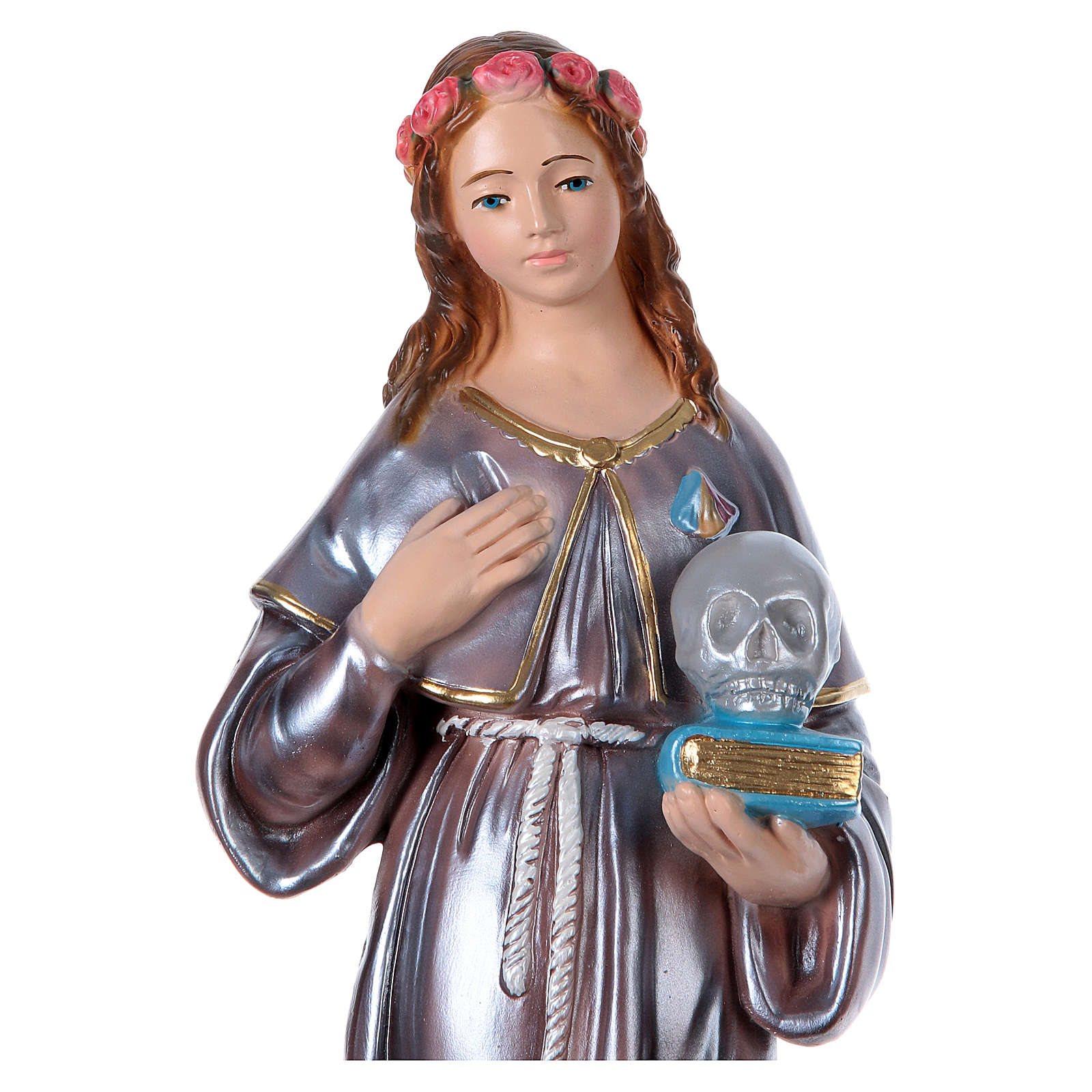 Saint Rosalie, pearlized plaster statue 40 cm 4