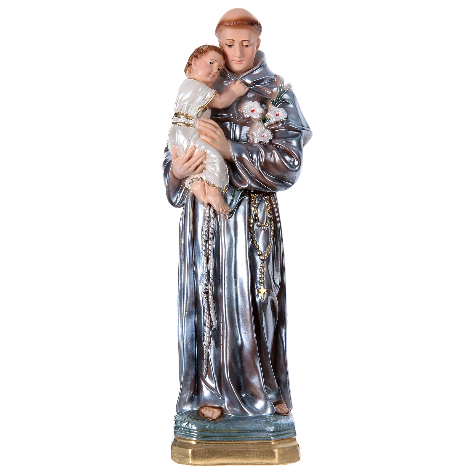 St Anthony of Padua 40 cm in mother-of-pearl plaster 4