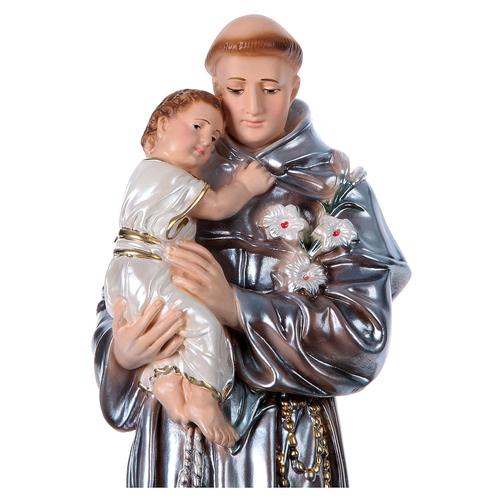 Saint Anthony of Padua, pearlized plaster statue 40 cm 4