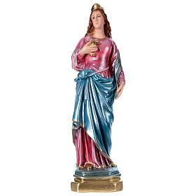 Santa Lucia 40 cm gesso madreperlato  s1