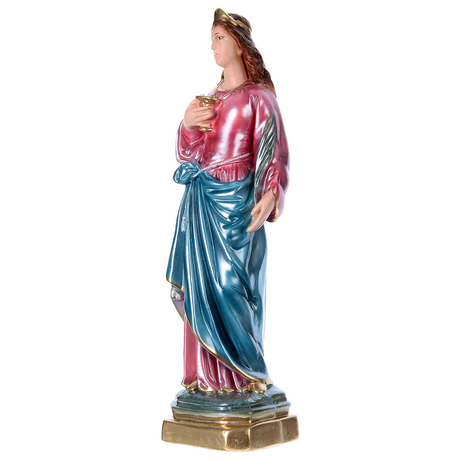 Santa Lúcia 40 cm gesso efeito madrepérola 4