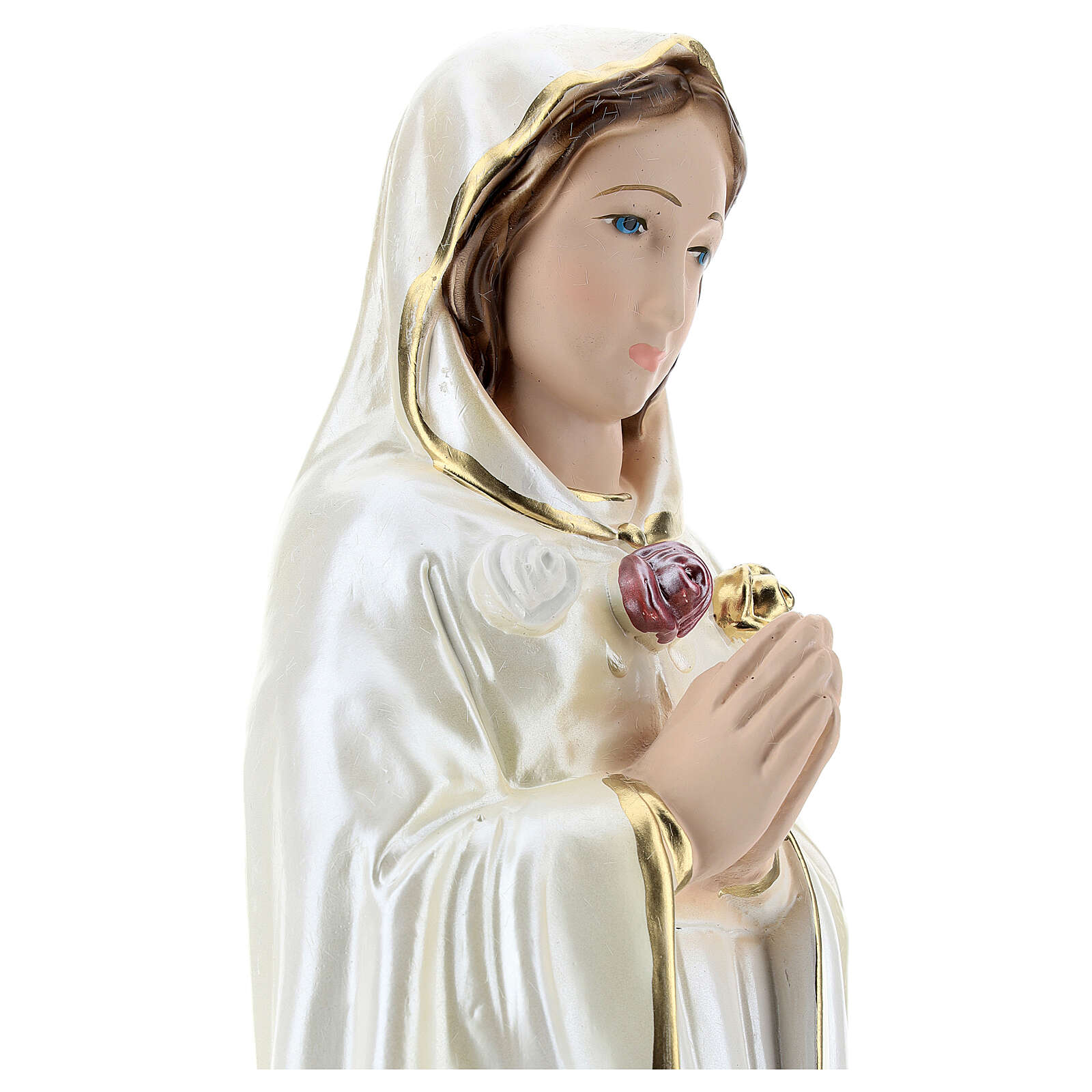 Estatua de yeso nacarado Santa Rosa Mística 40 cm 4