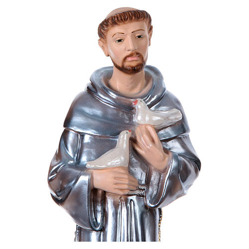 St Francis of Assisi 40 cm in mother-of-pearl plaster 2