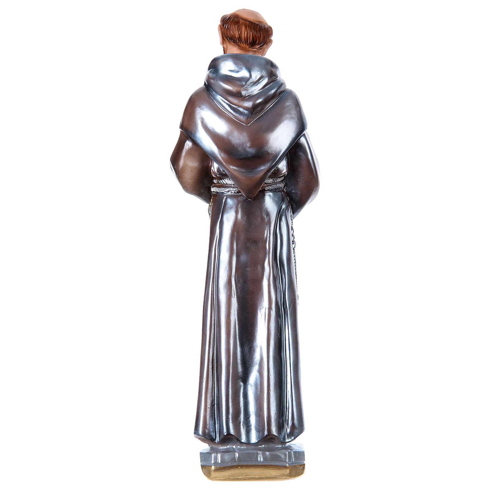 Estatua de yeso nacarado San Francisco de Asís 40 cm 4