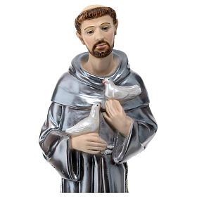 Estatua de yeso nacarado San Francisco de Asís 40 cm