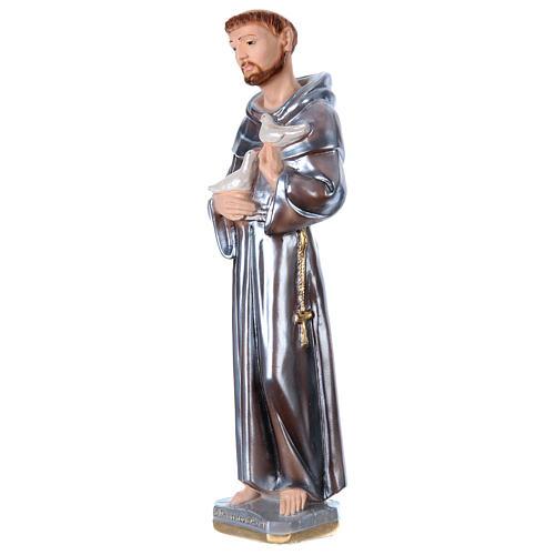 Estatua de yeso nacarado San Francisco de Asís 40 cm 3