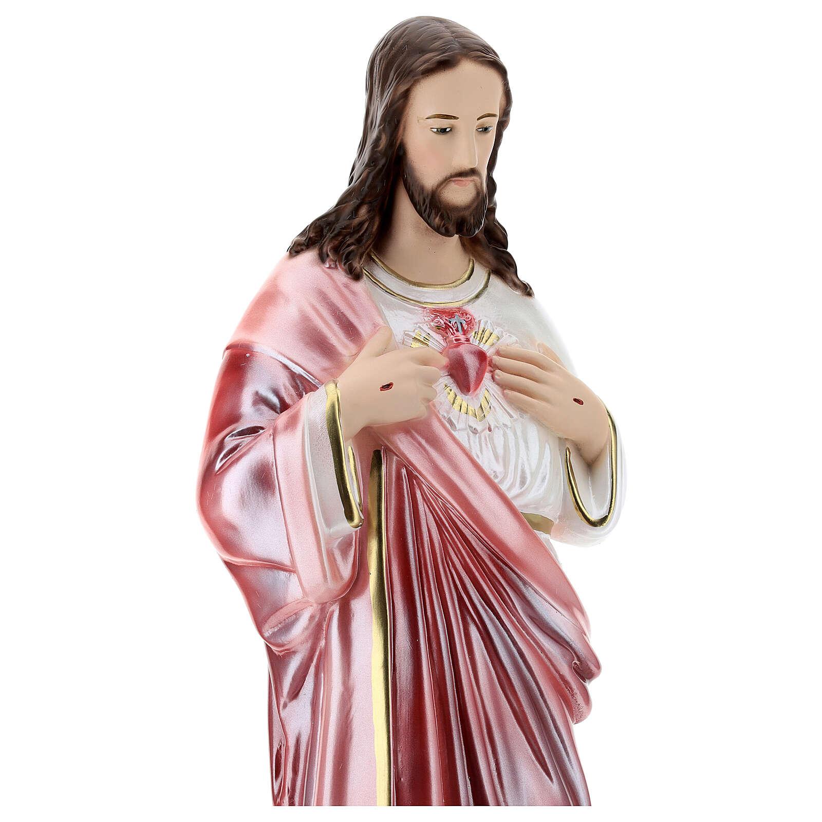 Statua in gesso Sacro Cuore di Gesù 50 cm madreperlato 4