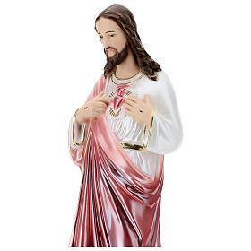 Statua in gesso Sacro Cuore di Gesù 50 cm madreperlato s2