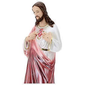 Imagem em gesso Sagrado Coração de Jesus 50 cm efeito madrepérola