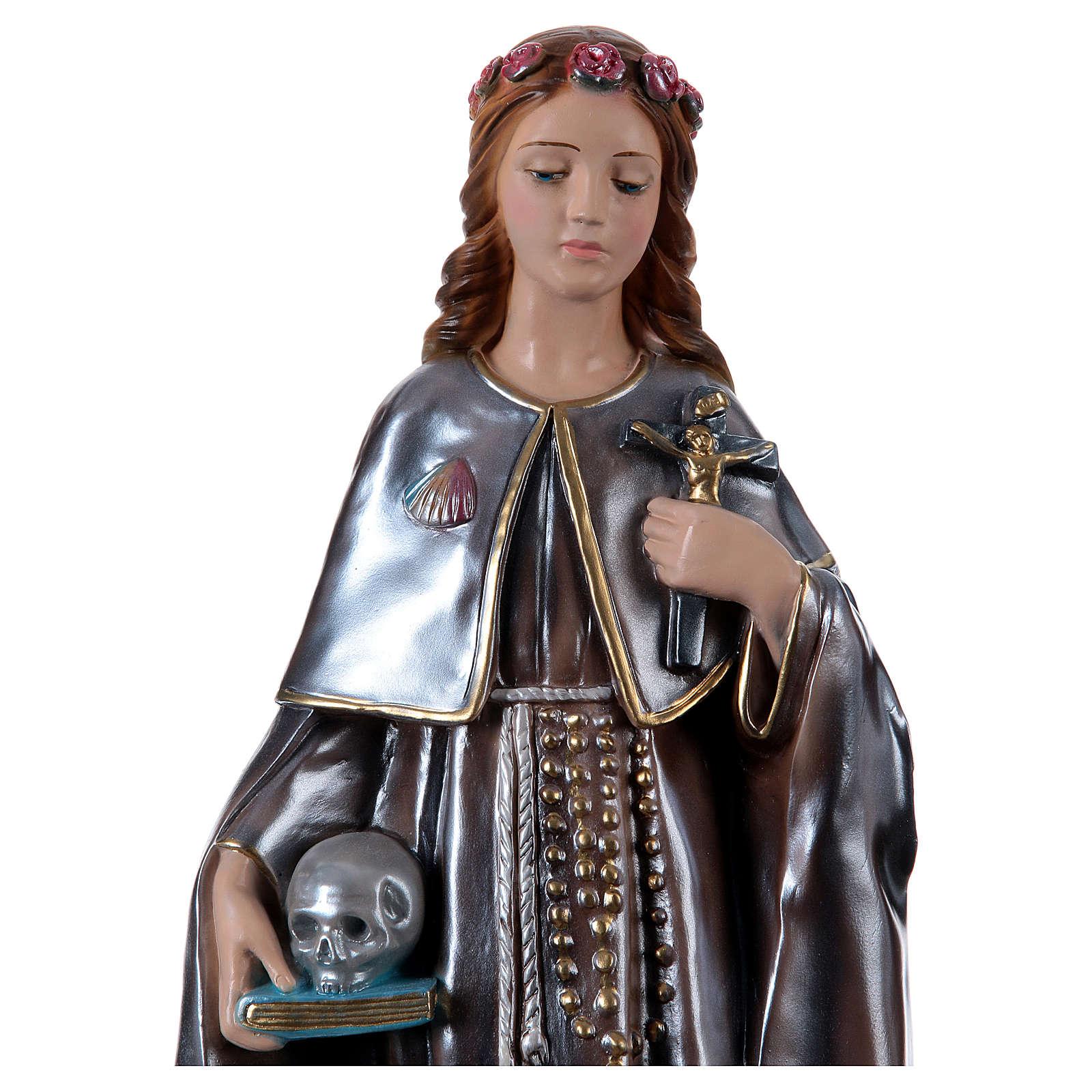 Estatua de yeso nacarado Santa Rosalía 50 cm 4