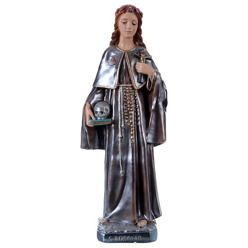 Estatua de yeso nacarado Santa Rosalía 50 cm 1