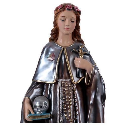 Estatua de yeso nacarado Santa Rosalía 50 cm 2