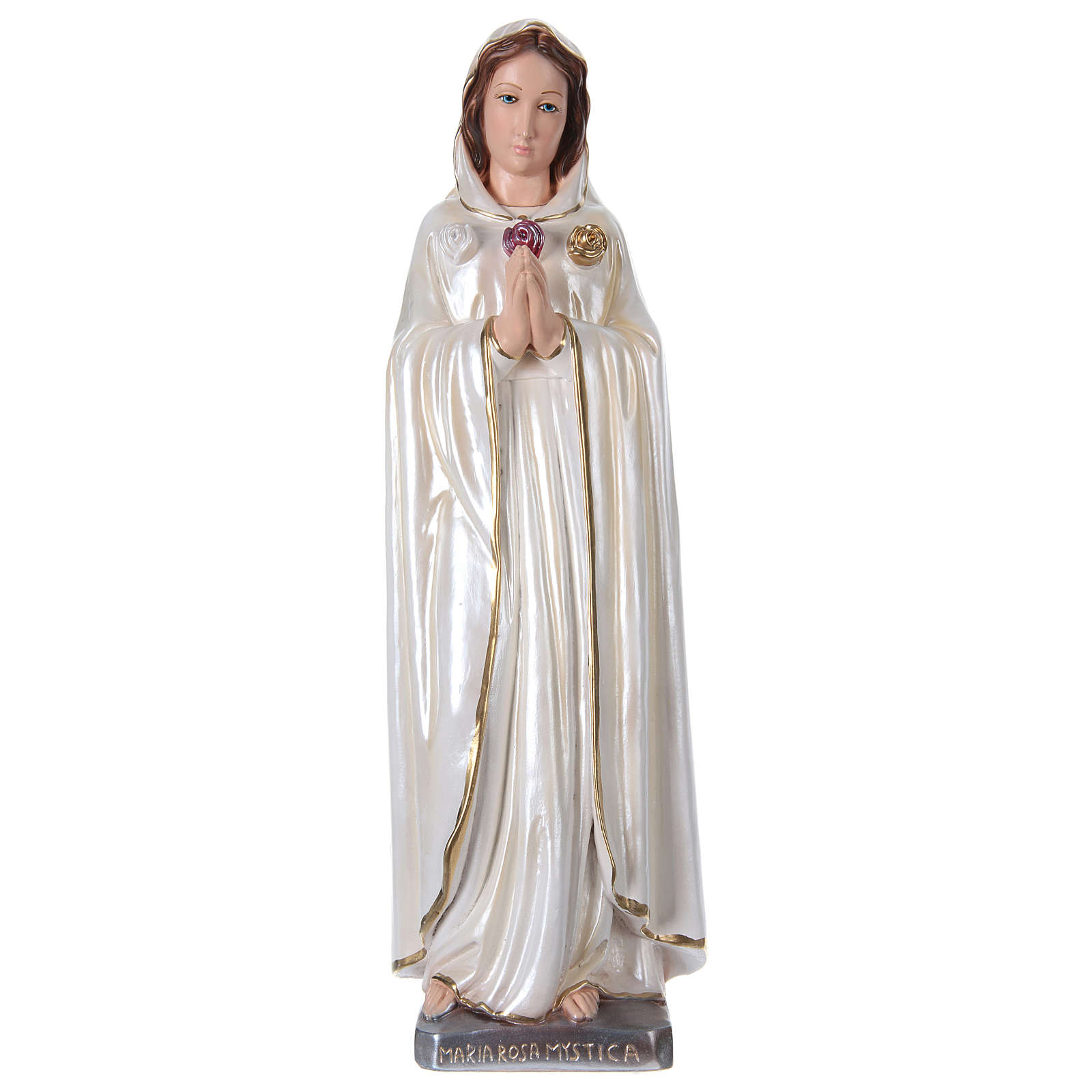 Santa Maria Rosa Mistica in gesso madreperlato 50 cm 4
