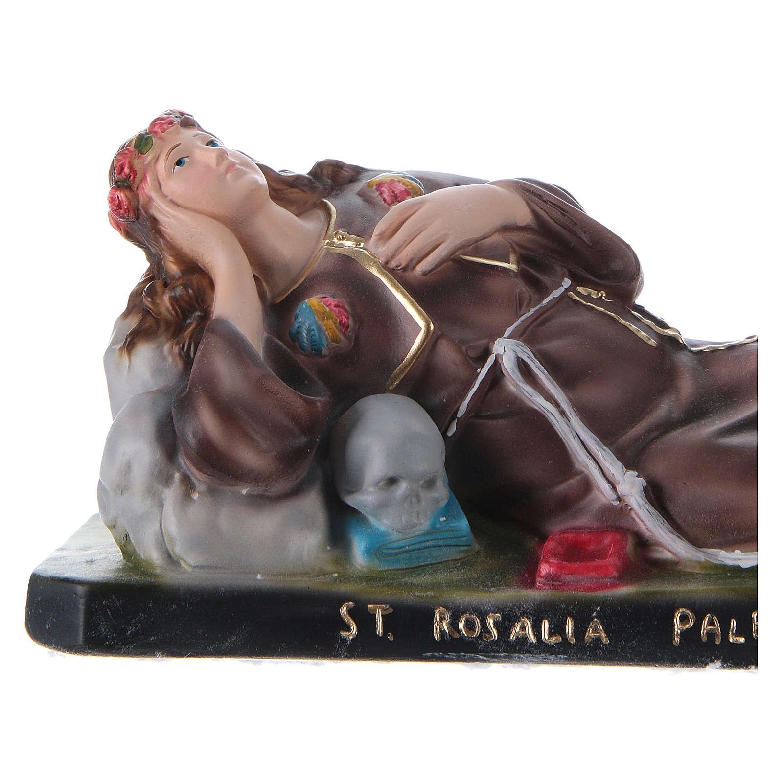 Santa Rosalía tumbada 12x30x10 cm yeso 4