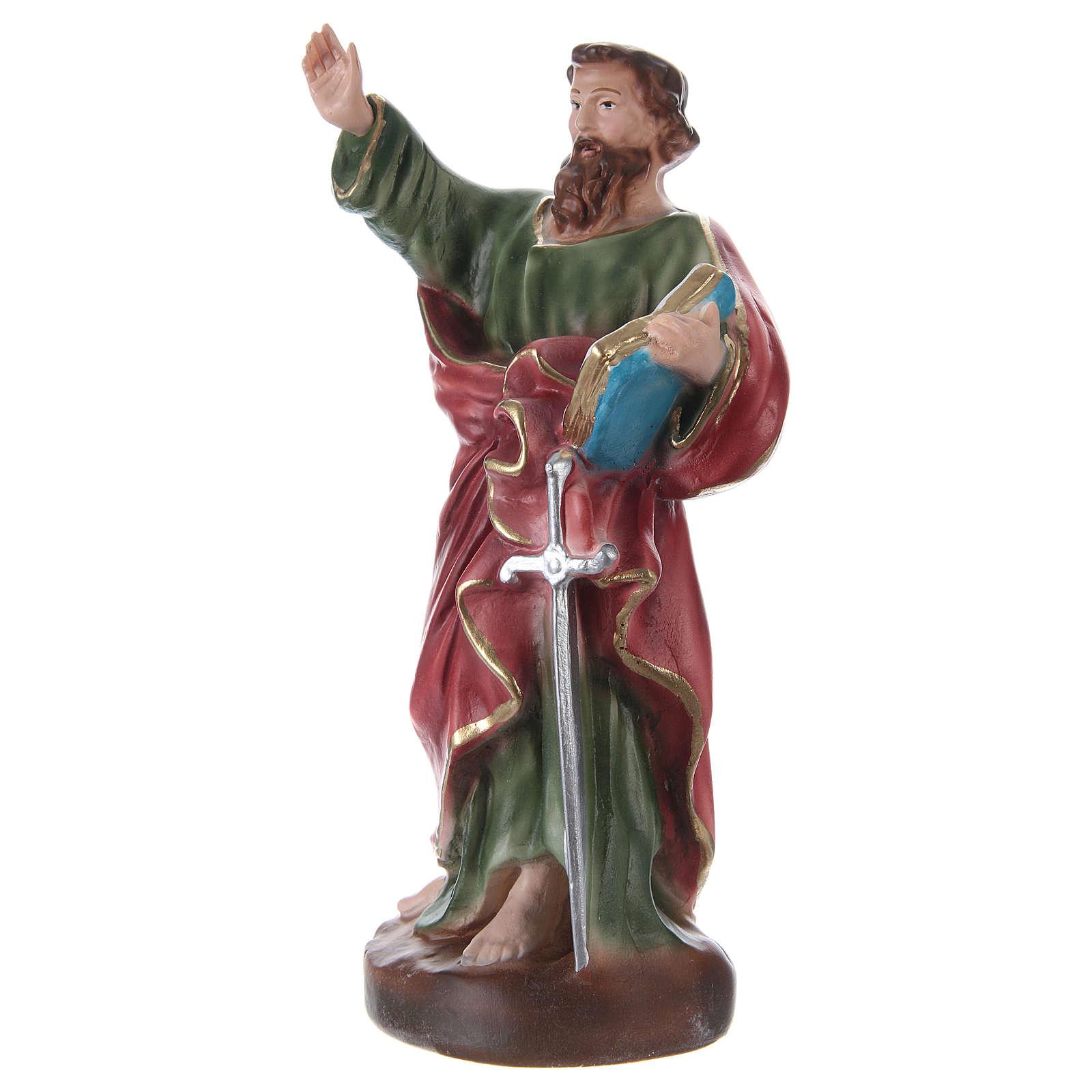 Estatua de yeso pintada a mano San Pablo con serpiente 25 cm 4
