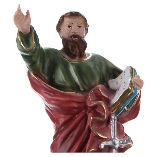 Estatua de yeso pintada a mano San Pablo con serpiente 25 cm 2