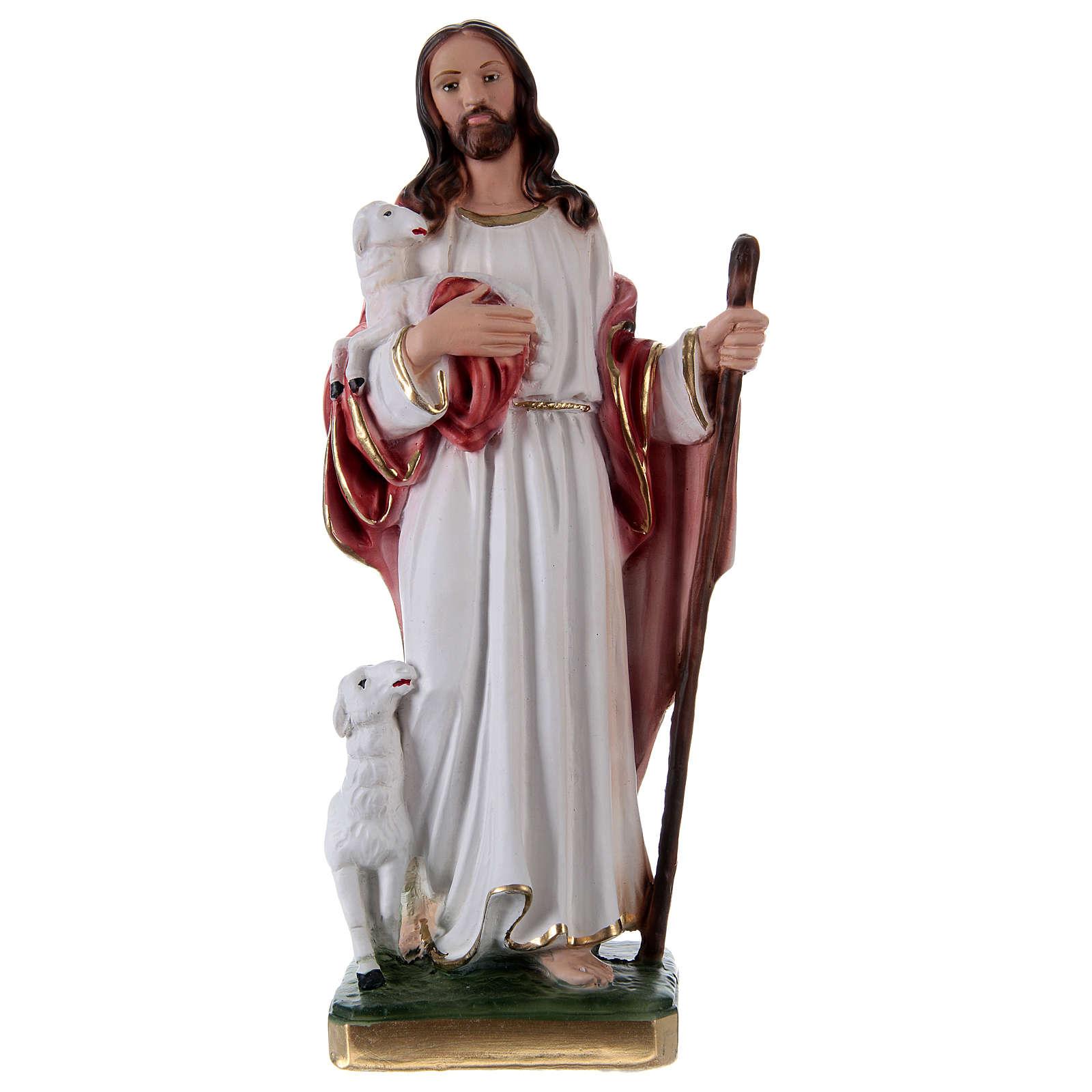 Gesù Buon Pastore 30 cm statua in gesso 4