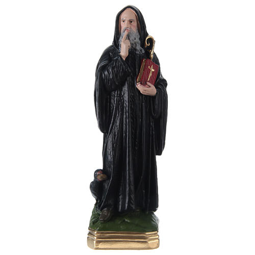 Statua gesso dipinto San Benedetto 30 cm  1