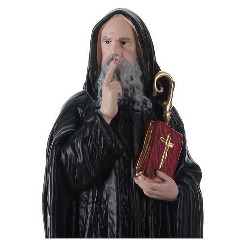 Statua gesso dipinto San Benedetto 30 cm  2