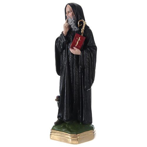 Statua gesso dipinto San Benedetto 30 cm  3