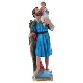 San Cristoforo 30 cm statua gesso dipinto s1