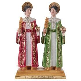 Côme et Damien 30 cm statue en plâtre s1