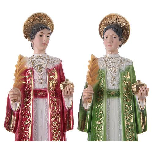 Côme et Damien 30 cm statue en plâtre 2