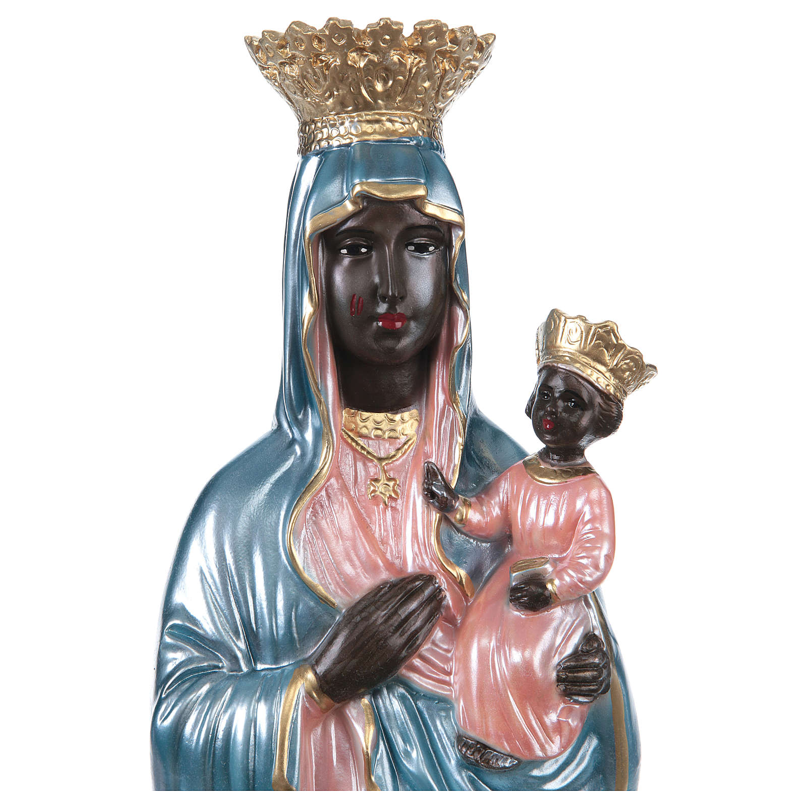 Our Lady of Czestochowa 25 cm in mother-of-pearl plaster 4