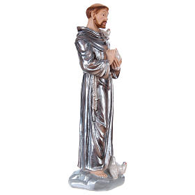 Saint Francis Plaster Statue, 30 cm with mother of pearl effect s4
