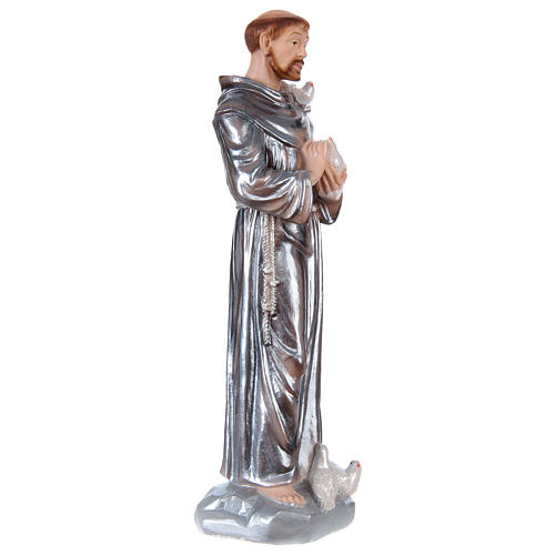 Saint Francis Plaster Statue, 30 cm with mother of pearl effect 4