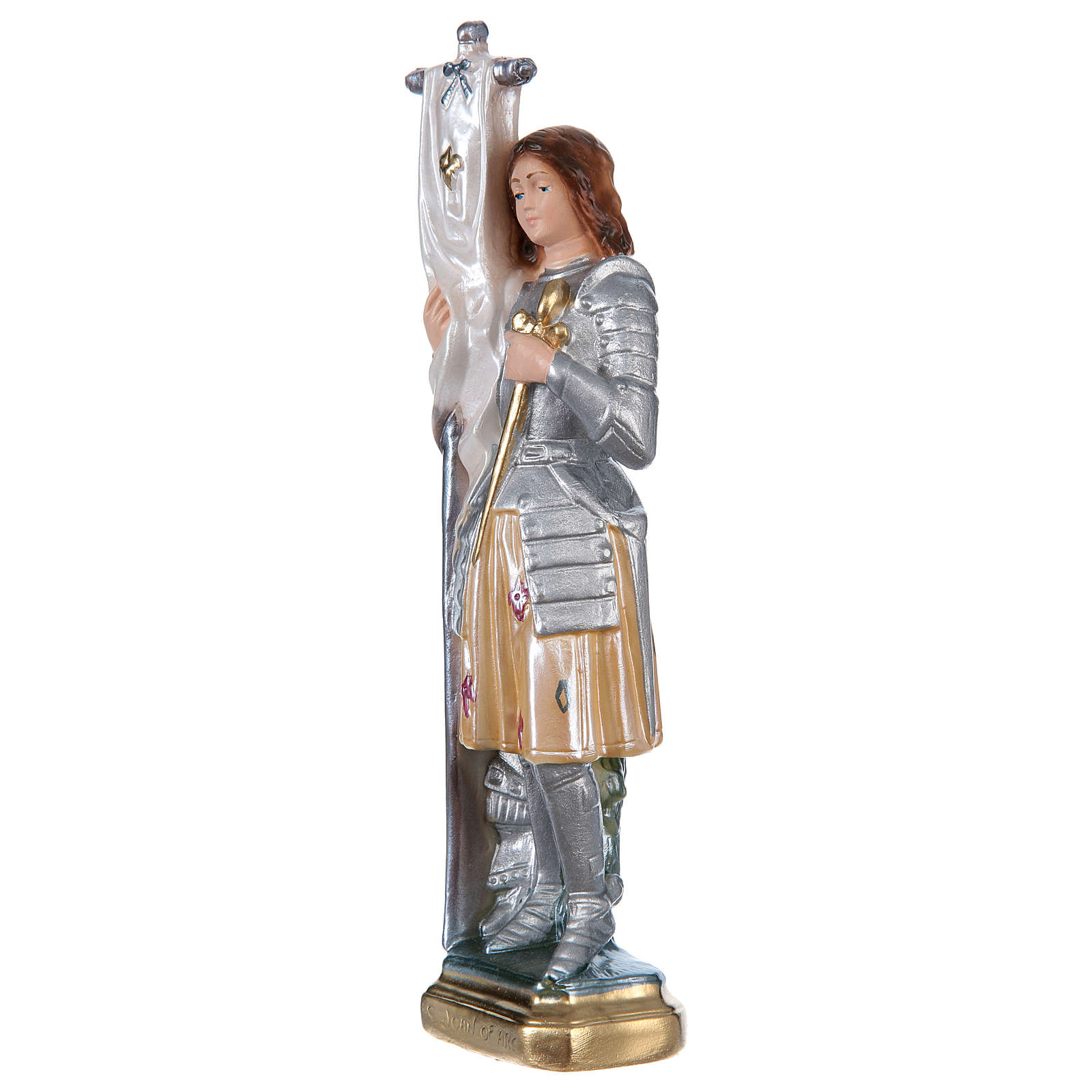 St Joan of Arc 25 cm in mother-of-pearl plaster 4